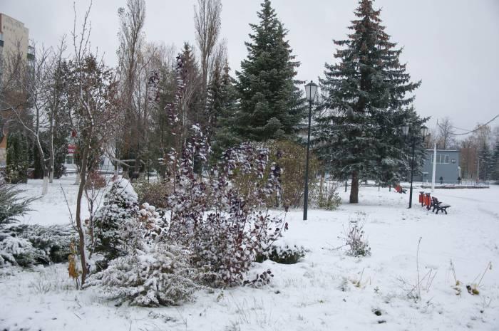 Новолукомль: городская площадь, покрытая снегом. Фото Анастасии Вереск