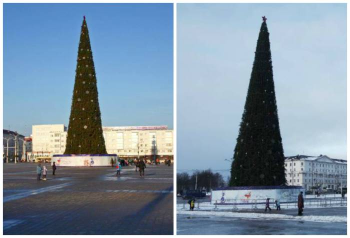 Витебская ёлка 2015 и 2016: найти 5 отличий. Коллаж автора