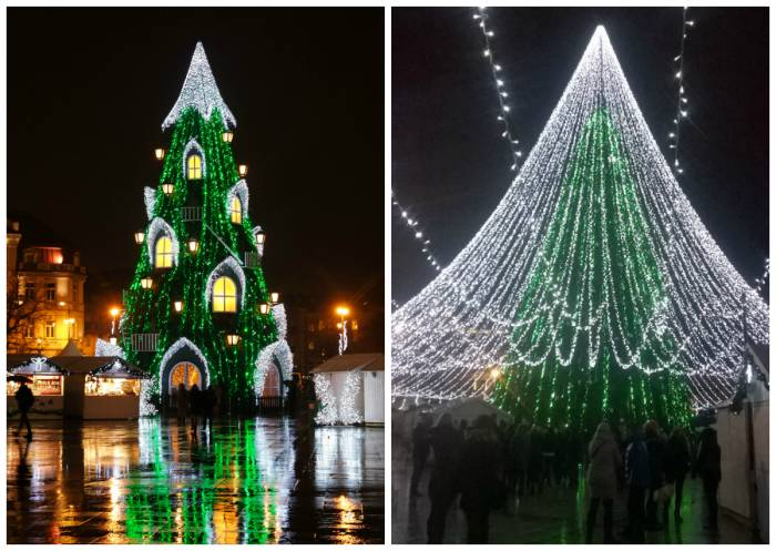 Елка в Вильнюсе в 2015 году (слева) и в 2016 году (справа). Коллаж Анастасия Вереск