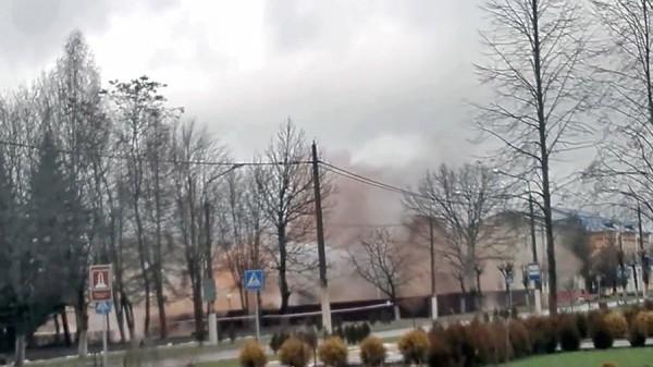 Уничтожение кинотеатра. Кадр из видео МЧС