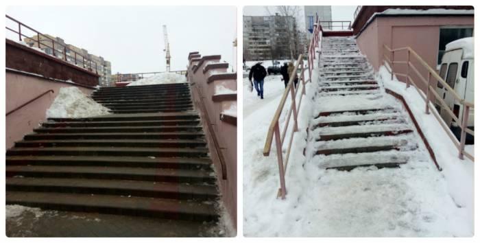 витебск, снег, лед, лестницы
