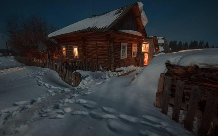 зима ночь деревня
