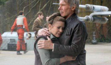 Кэрри Фишер и Харрисон Форд в фильме «Звёздные войны: Пробуждение Силы» в 2015 году.