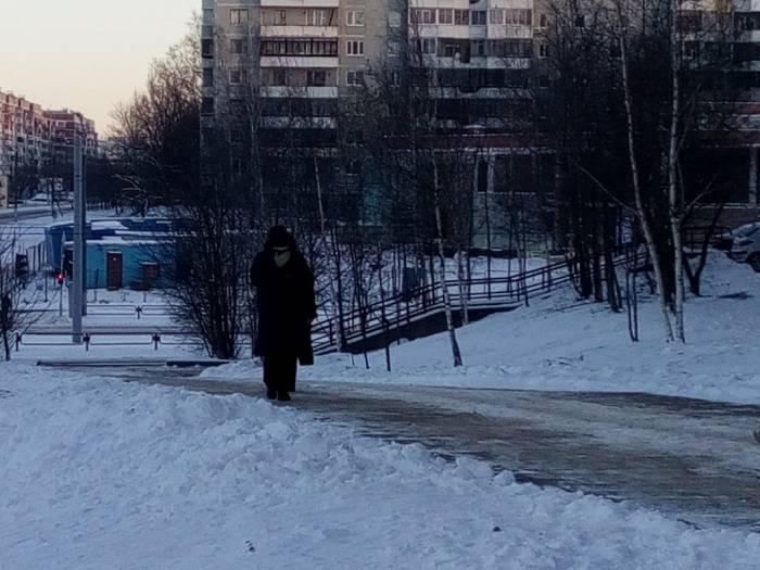 Одинокие прохожие всячески кутались от мороза. Фото Саши Май