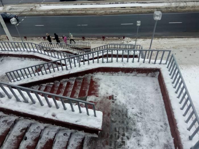 витебск, лестницы, город, гололед, снег