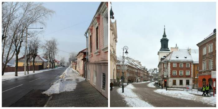 Слева Полоцк, справа Варшава. Коллаж Ольга Витебская