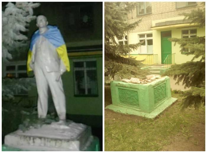 Памятник Ленину возле детском саду №51 в Гомеле, сейчас снесен. Фото left.by. Коллаж автора