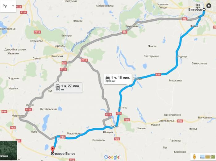 Как добраться до озера Белое, Чашникский район