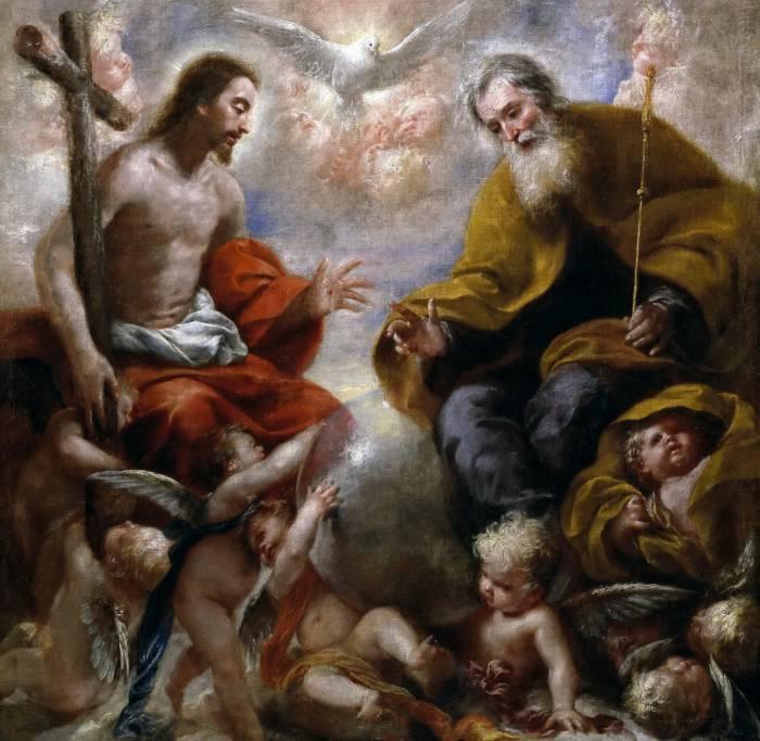 """Francisco Caro. Картина """"Святая Троица"""": Бог Отец в виде старца, Христос в его земном образе и Святой Дух в виде голубя"""
