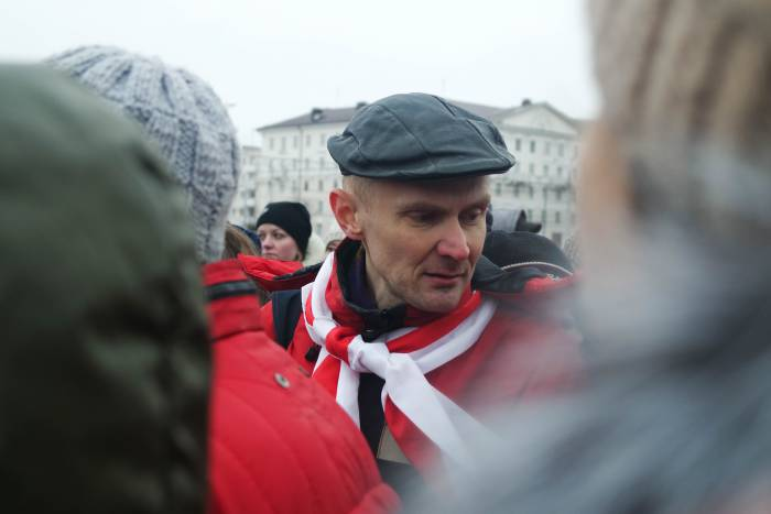 Участник акции в Витебске. Фото Анастасии Вереск