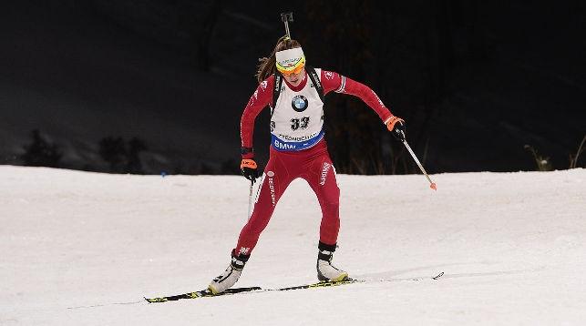 Дарья Домрачева на трассе в Пхенчхане. Фото: vk.com/biathlon_online