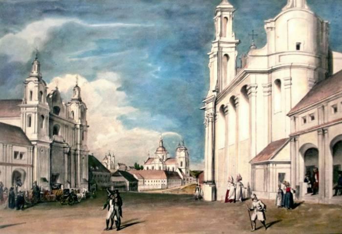 Рынковая площадь. Начало XIX века. Рисунок Юзефа Пешки. Фото evitebsk.com