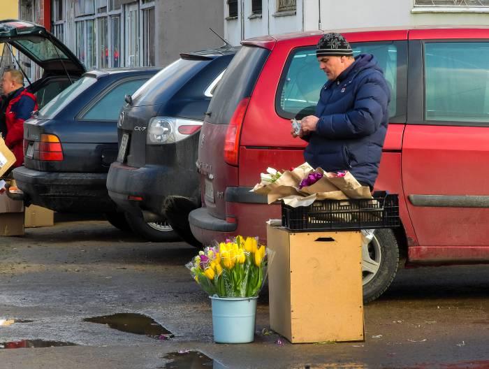 По словам продавцов, сегодня большим спросом пользовались тюльпаны. Фото Светланы Васильевой