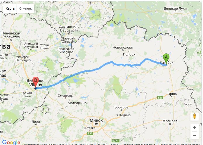 карта Витебск-Вильнюс