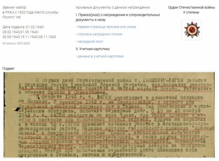 Архивный документ на сайте podvignaroda.ru
