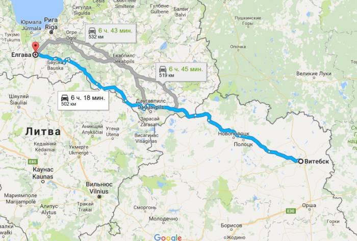 Витебск - Елгава на карте