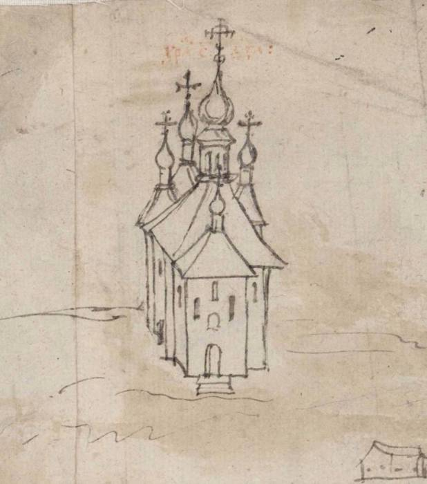 Духовская церковь. На чертеде Витебска 1664 года. Фото предоставлено Виктором Борисенковым