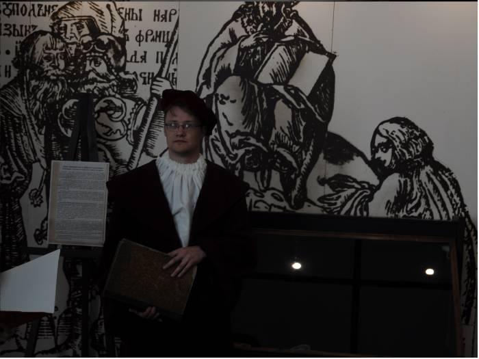 В роли Франциска Скорины в Музее книгопечатания. Фото Анастасии Вереск