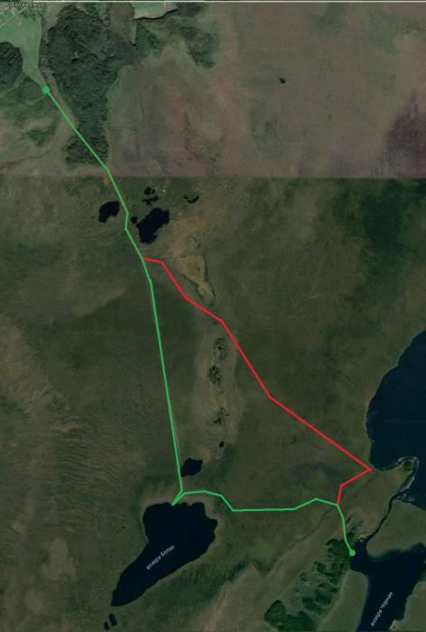 Примерный маршрут похода. Наша группа шла по зеленой линии