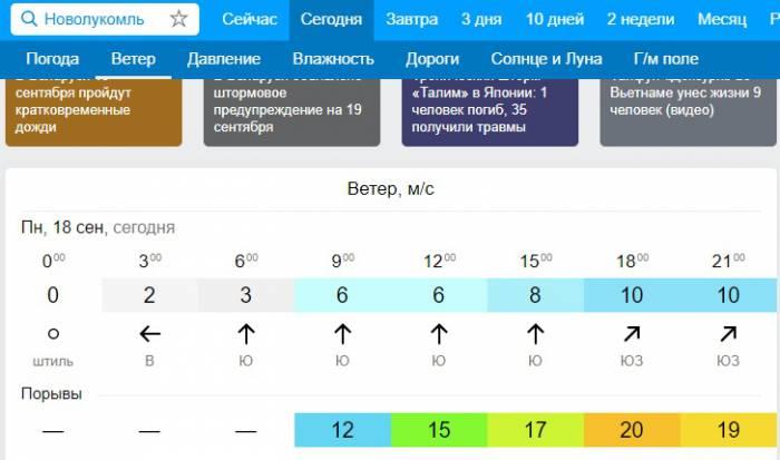 Скорость ветра в Новолукомле соответственно прогнозу