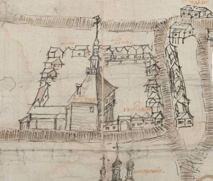 Ратуша на чертеже Витебска 1664 года. Фото evitebsk.com