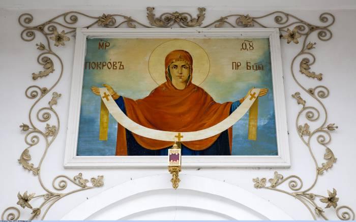 Собор Покрова Пресвятой Богородицы в Невинномысске (изображение над входом). Фото ru.wikipedia.org