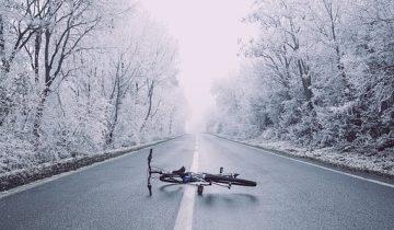 велосипед авария зима