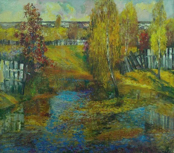 Изоитко, природа, пейзаж, деревня, живопись, Корженевский