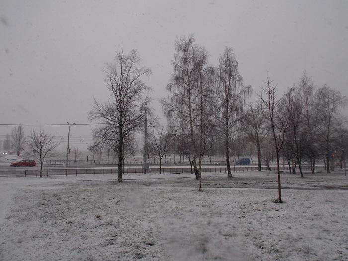 Витебск, перекрёсток, снегопад