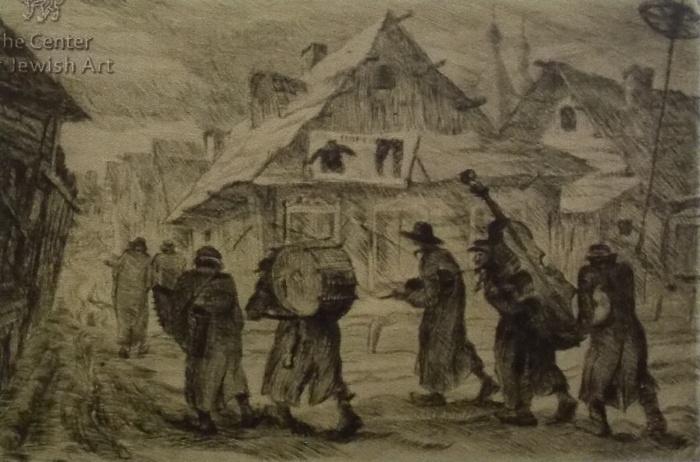 Юдовин, клезмеры, евреи, еврейство, графика, Корженевский