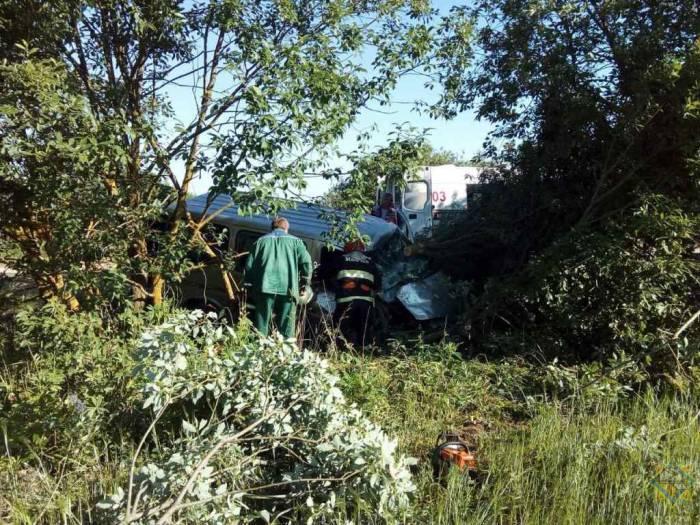 Сегодня утром в Докшицком районе водитель микроавтобуса не справилась с управлением и врезалась в дерево. Школьницу из салона пришлось деблокировать