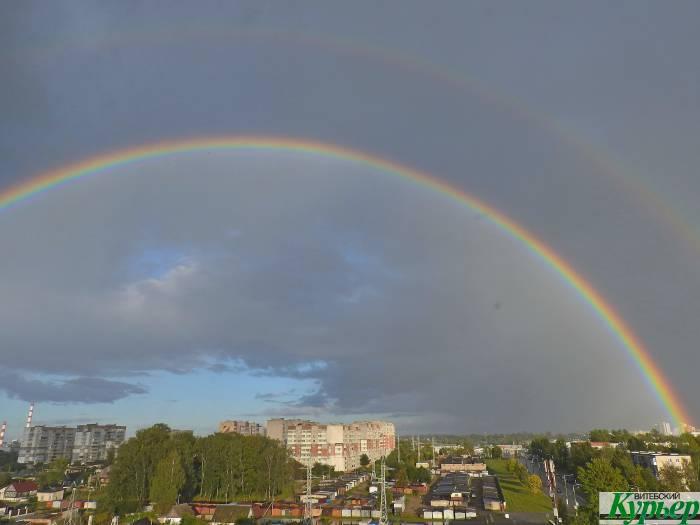 Редкое явление: в Витебске увидели осеннюю радугу