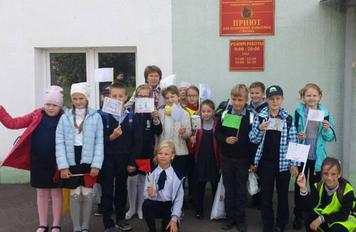В Витебске ученики гимназии №9 вместо цветов на 1 сентября отнесли в приют для бездомных животных корм