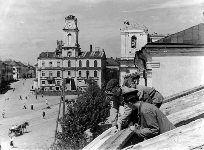 Витебск, Ратуша и музей в 1946 году. Раритетное видео
