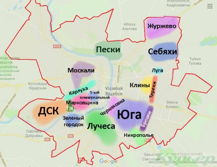 «Народная» карта районов Витебска. Где находятся Москали, Клины и ДСК