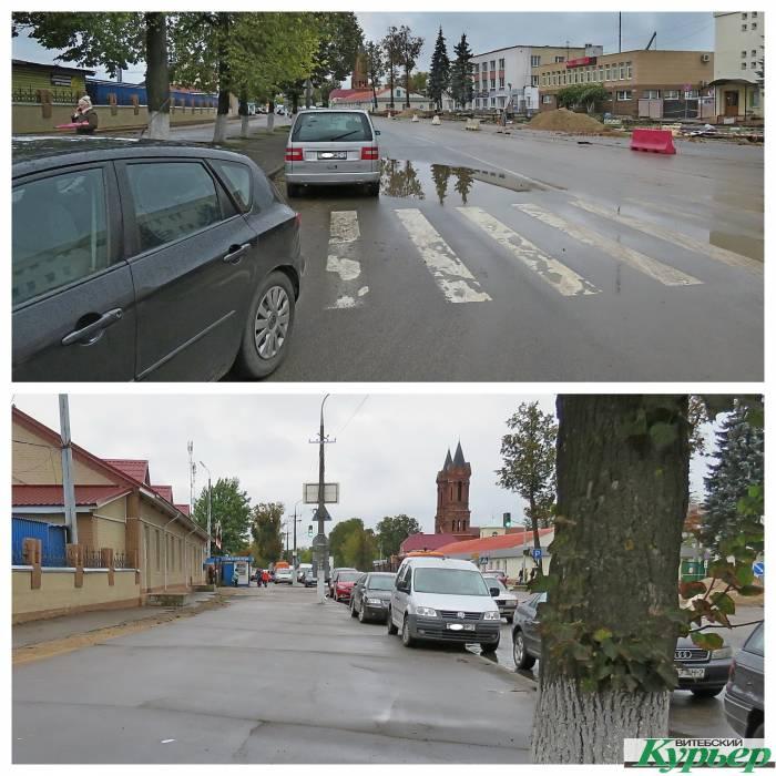 Возле Полоцкого рынка паркуются несмотря на запрет. А ГАИ как будто не замечает