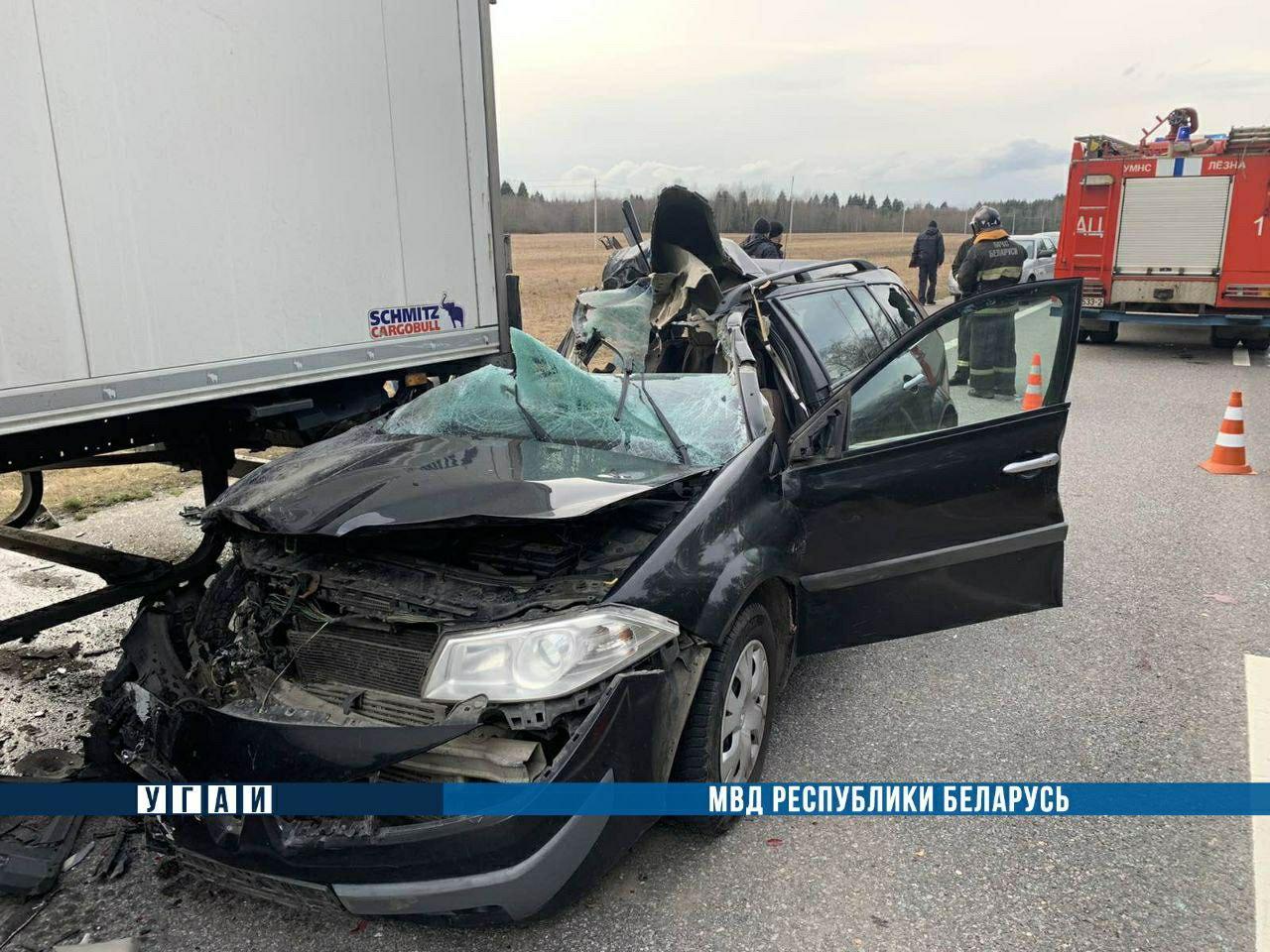 В результате ДТП в Лиозненском районе погиб пассажир легковушки — фото