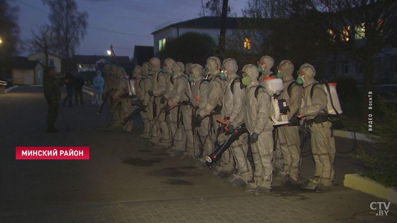 Военные химики провели дезинфекцию Минской районной больницы в Боровлянах