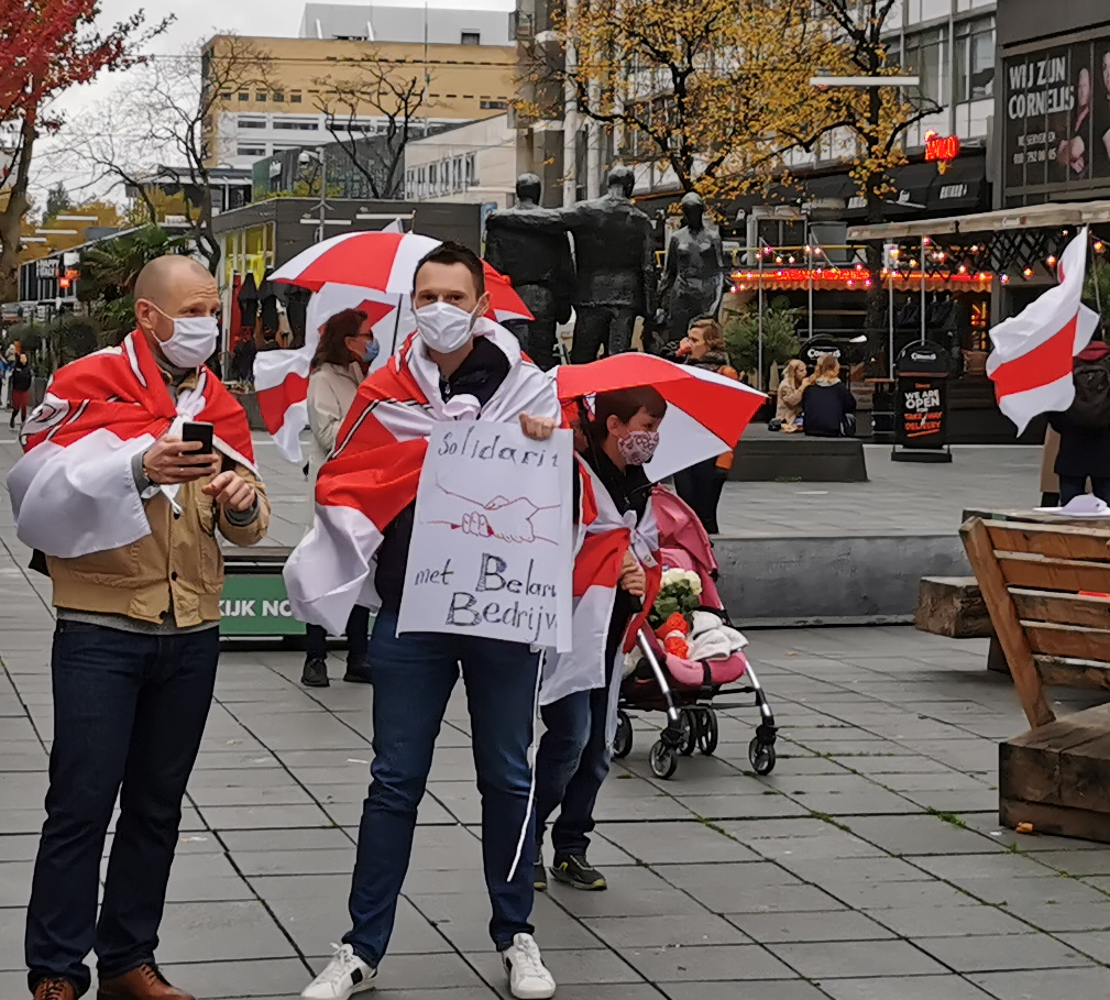 В Роттердаме состоялась акция поддержки общенациональной забастовки в Беларуси