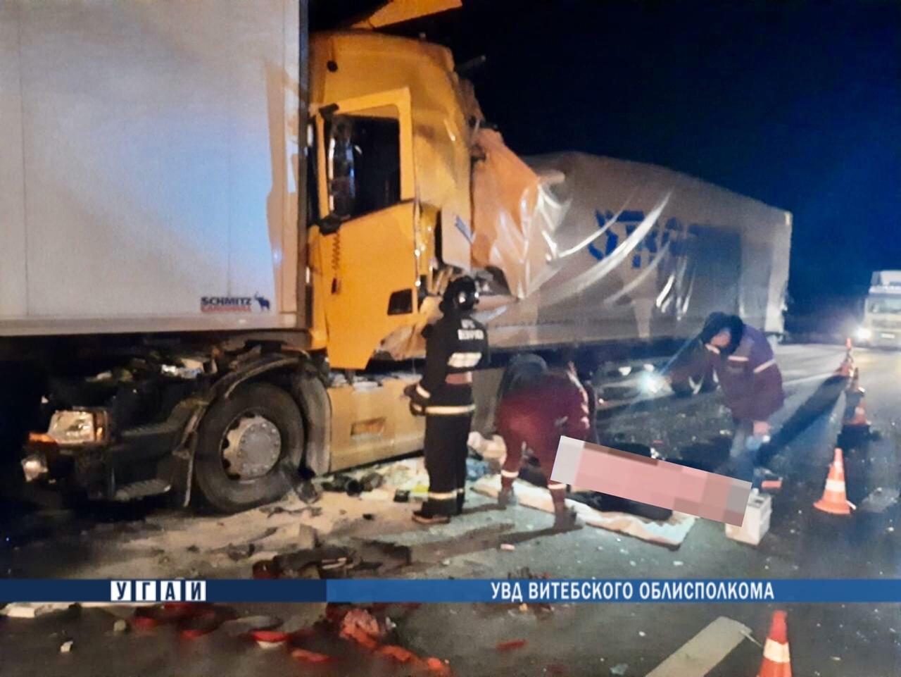 Три фуры столкнулись в Дубровенском районе, один дальнобойщик погиб